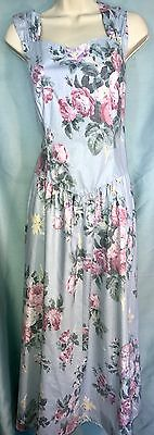 Vtg LANZ ORIGINALS M L Pink Blue Green Floral Swing Garden Party DRESS Big Bow