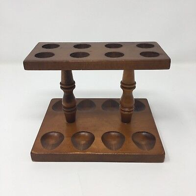 Antique Vintage Wood 8 Pipe Rack Stand Holder Tobacco Tobacciana