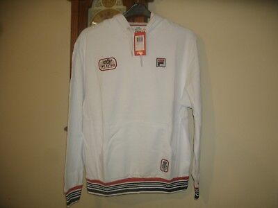 BNWT Fila 'The Artois Championships' White Hooded Long Sleeve Sweat Top Size L