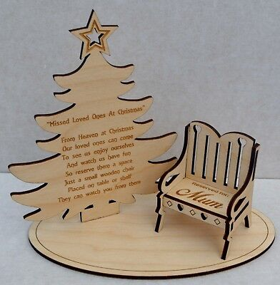 Christmas In Heaven Memorial Tree For Missed Loved One/s Personalised  Chair