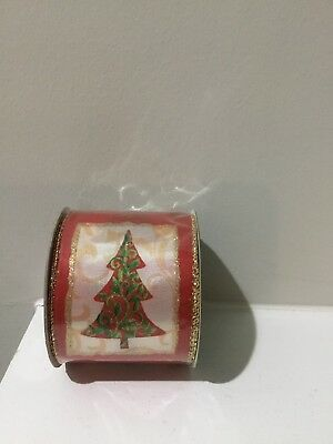 2.5 Inch Christmas Tree Glitter Wired Ribbon 12 Ft