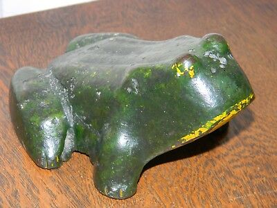 ANTIQUE 19th. CENTURY PRIMITIVE GARDEN FROG CAST IRON DOORSTOP STATUE TOAD ART