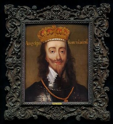 17th Century Portrait on Panel of King Charles I of England Antique Oil Painting