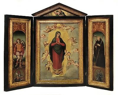 18th century Triptych Christ, Madonna, St Michael, St Francis Antique Painting