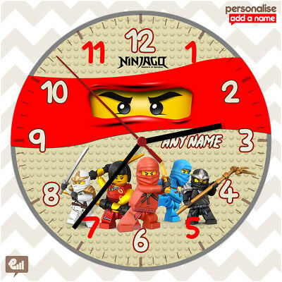 New LEGO NINJAGO Personalised Wall Clock Gift Fan Kids Bedroom Gaming 20cm Decor