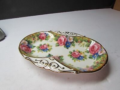 Stunning Vintage Paragon Petit Point Roses Relish Tray Server England