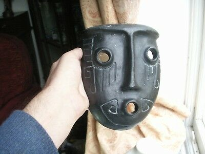 Old Vintage Native American Argentina Pottery Face Mask Signed  Cruz Fine