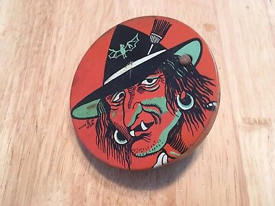 Vintage Halloween Noisemaker Ratchet WITCH Made In USA tin litho