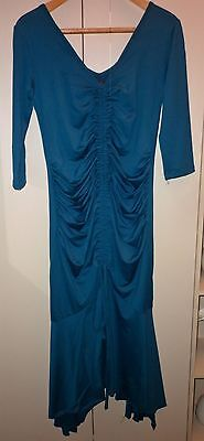 1920s STYLE TEAL MATERNITY DRESS SIZE SMALL  EXCELLENT CONDITION