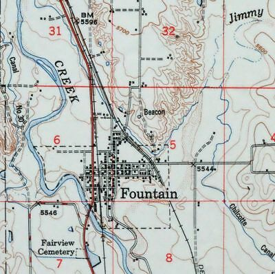 1951 Fountain Colorado USGS Army Corp of Engineers Topo Map Colorado Springs