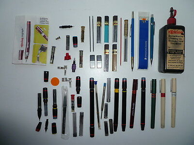 Vintage ROtring Isograph Pens Job Lot + Propelling Pencils,Leads etc.