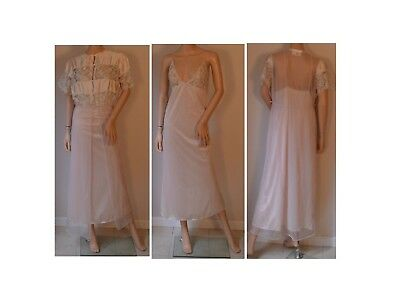 afa970f93 Vintage 70s Sheer White Lace Floral Pink Nightgown Wedding Negligee Robe  Medium