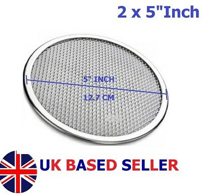 "2 QTY 5"" inch Aluminium Mesh Pizza Screen Baking Tray Bakeware Cook Pizza Net"