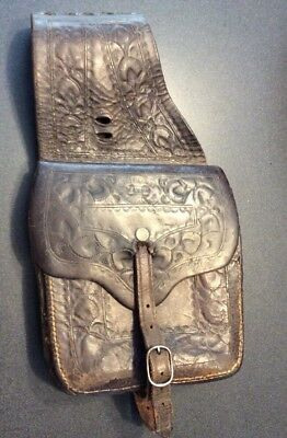 Vintage Maker Marked Otto F. Ernst Cowboy Western Leather Saddle Bags Wyoming