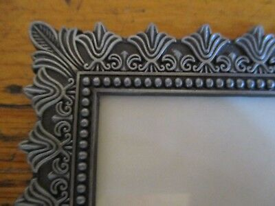 "Iris Floral Art Nouveau Style Antique Cast Metal Square Picture Frame  8""x10"""