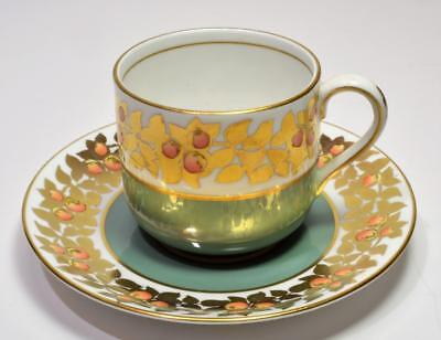 VTG c.1940 TIFFANY & Co GROSVENOR England Gold Green APPLE Demitasse Cup&Saucer