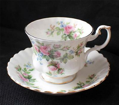 Vintage ROYAL ALBERT Bone China England MOSS ROSE Pattern Set Footed Cup &Saucer