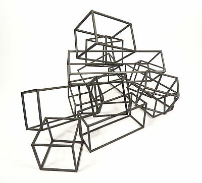 Mid Century Modern Crate And Barrel Wire Cubed Metal Sculpture Cubed Square Art