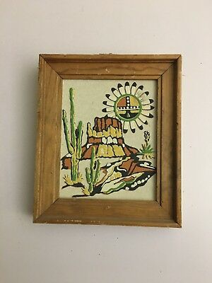 """7 by 6Inch Navajo Sand Painting Signed Native American """"WESTERN SKIES""""."""