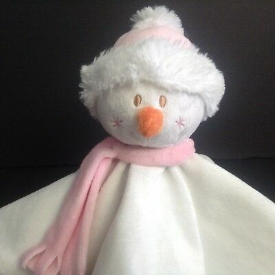 Blankets And Beyond Snowman Security Blanket Lovey Pink Satin Scarf Knots
