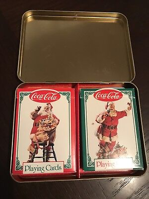 Set Of 2 Vintage Coca Cola Christmas Playing Card Decks In Collectors Tin~1994