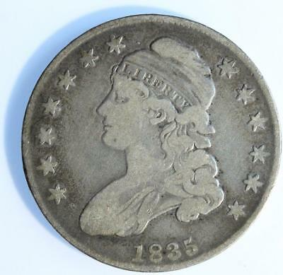 1835 Capped Bust Half Dollar, Nicely Circulated, Original. Problem Free, Rare!