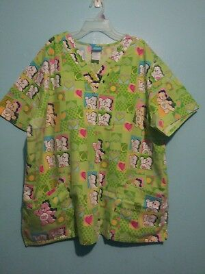 CARE BEARS hospital work scrub double-pocketed multi-colored top!  Size 2XL!