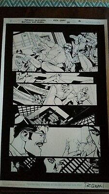 Batman and Robin #25 Page 18 Mick Gray Inks Over Patrick Gleason Blue Lines Art