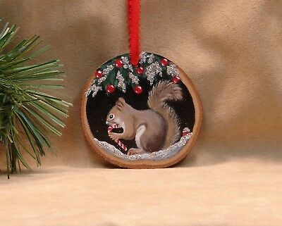 Hand Painted Wood Slice Christmas Ornament Glitter Squirrel Candy Cane Snow