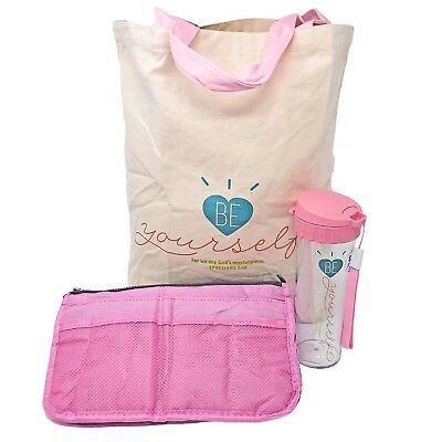 Women's Christian Tote with Matching Water Bottle and Bag Organizer (Pink)