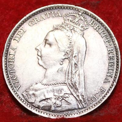 1892 Great Britain 6 Pence Silver Foreign Coin
