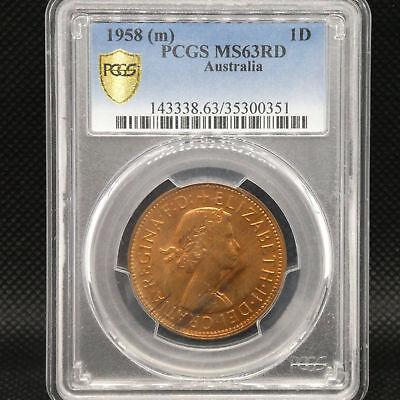 1958M Australia One Penny 1d Coin PCGS Graded MS63RD
