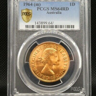 1964M Australia One Penny 1d Coin PCGS Graded MS64RD