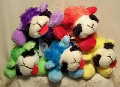 COLOR LAMB CHOPS Lot 5 SMALL PLUSH SQUEAKY DOG TOYS Blue Yellow Green Purple Red