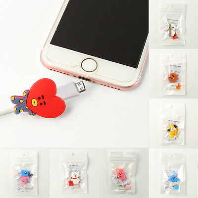 KPOP Bangtan Boys BT21 Phone Charge Rubber Cable Conector Protector TATA COOKY