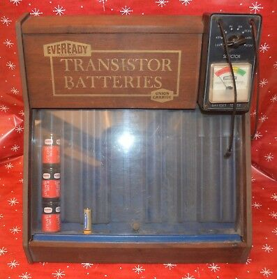1960's TRANSISTOR RADIO BATTERY DEALER DISPLAY RACK by EVEREDY with TEST METER