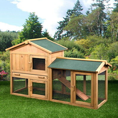 "61""Wooden Rabbit Hutch Bunny House Small Animal Pet Cage With Backyard Run Ramp"