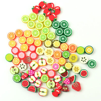 100pcs Wholesale Mixed Polymer Fimo Clay Fruit Spacer Beads Jewelry Making DIY