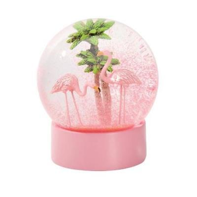 NEW IS Gift Flamingo Tropical Snow Globe