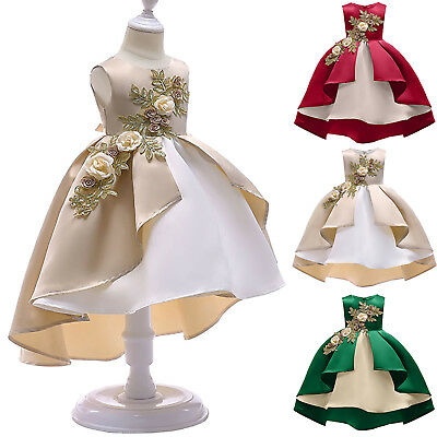 Baby Girl Flower Party Gown Wedding Bridesmaid Child Formal Bow Princess Dresses
