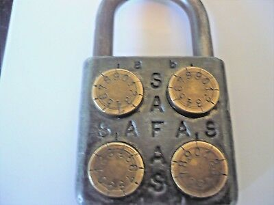 Late 19th / Early 20th Century Antique Combination 4 Brass Wheel Padlock