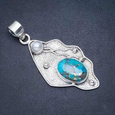"Copper Turquoise and River Pearl 925 Sterling Silver Pendant 2"" A0012"