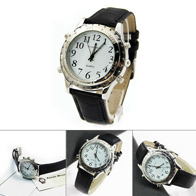 New Digital English Talking Watch Leather Strap For Blind Person or the Older BT