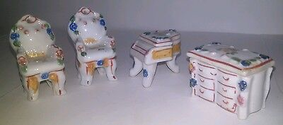 Occupied Japan Lot of Miniature Furniture Includes Piano Drawer and 2 Chairs
