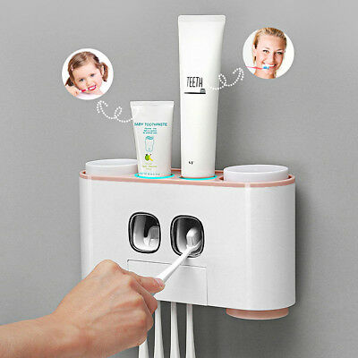 Auto Squeezing Toothpaste Dispenser Toothbrush Holder Set Home Wall Mount Stand