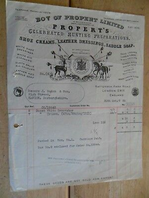 Billhead Invoice London Battersea Hunting Horses Propert Ltd 1939