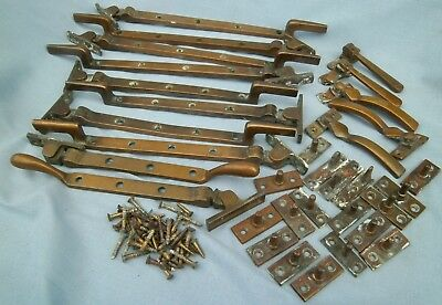 Vintage Brass Window Casements Stays / Latches  Job Lot 33 Items 50 Brass Screws