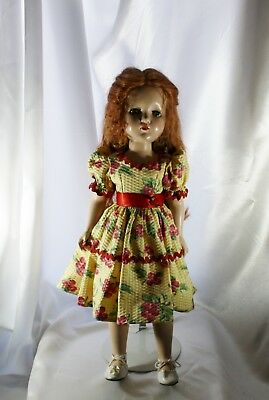 21-inch Vintage Doll Red Hair to Waist, Cherry Fruit Dress