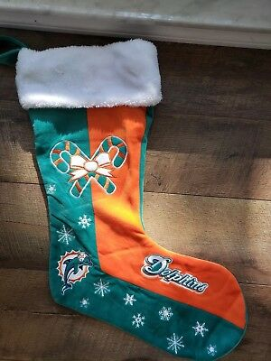 Vintage NFL FOOTBALL Miami DOLPHINS Embroidered Plush Velvet Christmas Stocking