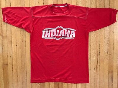 VINTAGE 70s INDIANA HOOSIERS T-SHIRT SZ L SOFT RED BASKETBALL 80s 1970s - 1980s